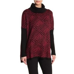 NWT Joseph A Red Black Cowl Neck Knit Sweater
